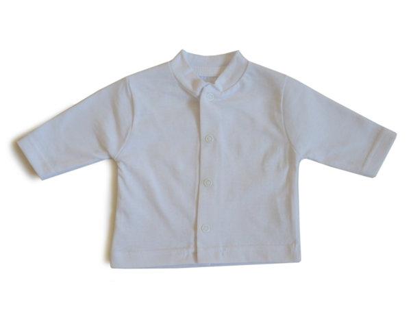 Детска жилетка с дълъг ръкав и предно закопчаване /бяло трико/